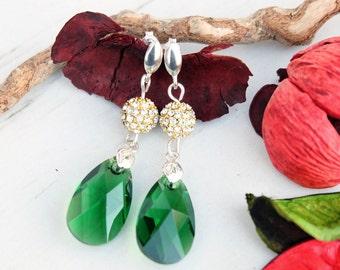 Sterling Silver Green Swarovski Earring-Silver Studs Earrings-Swarovski Jewellery-Green Swarovski Crystal-Green Gold Dangle Teardrop Earring