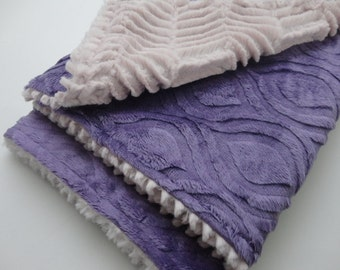 Clearance!  Purple and Mauve Minky Baby Blanket - Ready to Ship