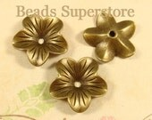 18 mm x 5 mm Antique Bronze Flower Bead Cap - Nickel Free, Lead Free and Cadmium Free - 10 pcs