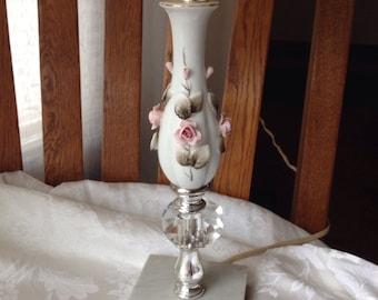 White Porcelain Lamp, Pink Roses, Marble Base