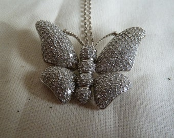 Diamante Butterfly necklace, sparkling insect jewellery. Silver necklace. Silver butterfly pendant. Crystal butterfly jewellery. Pendant.