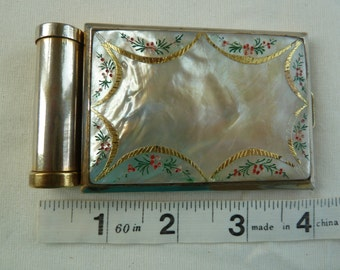 Vintage mother of pearl shell compact and lipstick holder. fifties. 1950s collectable compact. 1940s