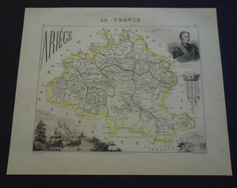 1850 antique map of Ariège departement France - beautiful old hand colored print - Foix Pamiers Lavelanet Saint-Girons Saverdun Ariege 9x11""