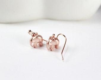 Rose Gold Elephant Earrings - Lucky Elephant Earrings, lucky elephant, good luck charm, Elephant earrings,Rose Gold elephants. Mom Sister
