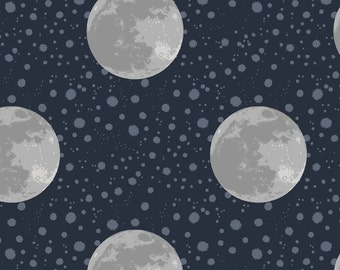 Lewis & Irene To the Moon and Back Patchwork Quilting Fabric A164.3 Midnight Blue Moon
