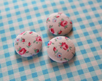 Vintage Floral Fabric Buttons Covered Button Shabby Cottage Chic Flower Button 1 1/8 inches Little Girls Pillow Cardigan Romantic Home Decor