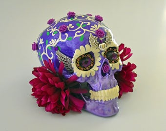 Purple Skulls, Art and Collectables, Sculptures, Figurine, Day Of The Dead, Purple Things, Hand Painted, Sugar Skulls, Unique Gift Ideas