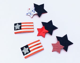RTS - Snap Clips, 4th July Clips, Flag Hair Clips, Star Hair Clips, Leather Snap Clips, Clips Set, Denim Hair Clips, Red Clips, Patriotic