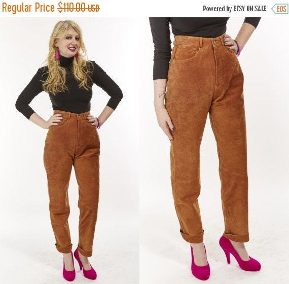 Vtg 80s 90s Brown Burnt Sienna Caramel SUEDE High Waisted Leather PANTS Minimalist BOHO Chic retro southwestern glam grunge Buttery Soft