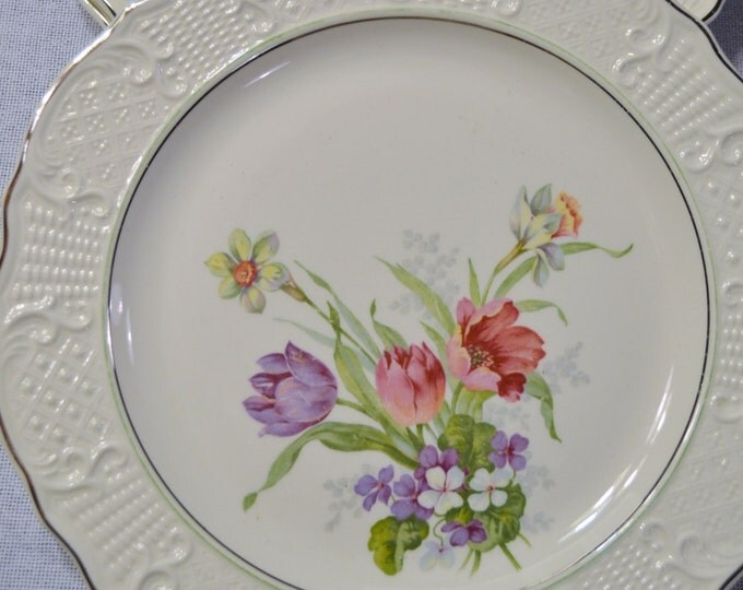 Vintage Washington Colonial Luncheon Plate Plate Set of 3 Spring Bouquet Floral Shabby Cottage PanchosPorch
