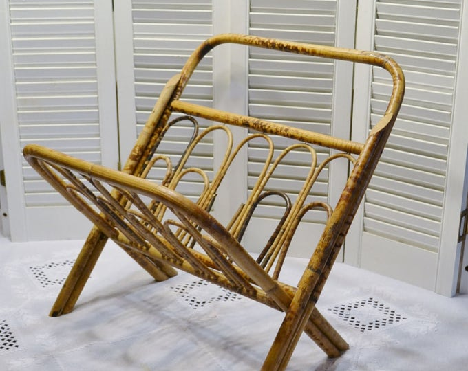 Vintage Rattan Magazine Rack Folding Collapsible Magazine Holder PanchosPorch