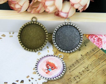 Photo glass cabochon trays 1'' circle glass cabochon pendant trays 25mm cameo bases settings necklace pendants findings PTR25-A3116