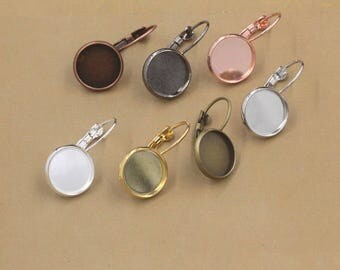 Ear hooks ear wires blanks french hooks 16mm circle bases earring findings supplies ear posts earring components ear cameo bases T5604