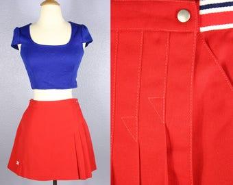Vintage WRAP Skirt TAIL Tennis Skirt Red Mini Skirt High Waisted Skirt Retro 1980s PREPPY Skirt Sportswear Athletic Sports Gear Micro Mini