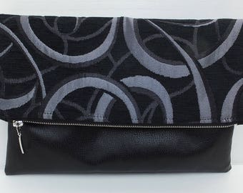 Clutch Bag, Fold Over Clutch, Clutch, Leather, Purse, Evening Purse, Black and Silver