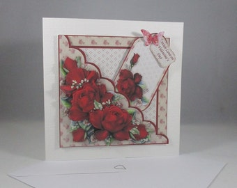 Handmade 3D Valentine Red Roses Card