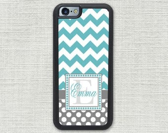 Chevron iPhone Case, iPhone 7 Case,  iPhone 6S Case, Monogram iPhone 6 Case Teal Dots Personalized 1225
