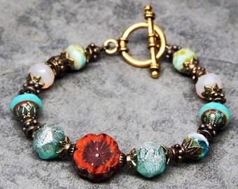 Brass bohemian bracelet, boho bracelet, red and turquoise jewelry