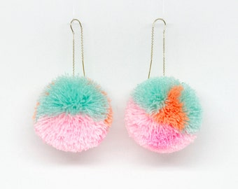 Color Blocked Pom pom drop threader earrings