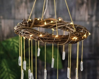Bohemian Nursery Mobile - Rustic Lighted Chandelier - Rustic Wedding Lighting - Bedroom Chandelier - Unique Nursery Decor - Crystal Chandeli