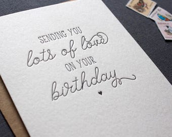 Letterpress Sending Love Birthday Card - Little Heart