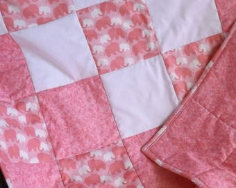 Mommy and Baby Elephant Cotton Fabric Large Patchwork Crib Quilt, Pink and White