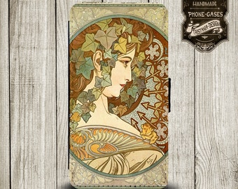 "Handytasche, Leather Wallet Phone Case  iPhone & Samsung,Sony Xperia  ""Alphonse Mucha """