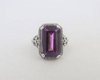 Vintage Sterling Silver Emerald cut Alexandrite Filigree Ring Size 7
