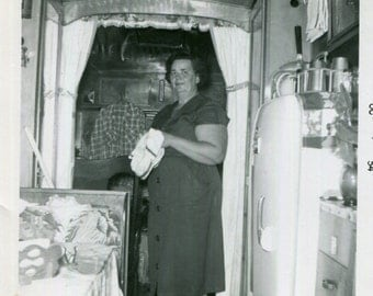 Vintage Photo..Cleaning Day in the Trailer, 1950's Original Found Photo, Vernacular Photography