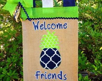 Pineapple Garden Flag, Pineapple Welcome Flag,Summer Flag, Burlap Garden Flag,Navy And Green Pineapple, Pineapple Sign,Pineapple Door Decor