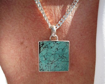 Heavy Turquoise and Sterling Silver Pendant and Necklace