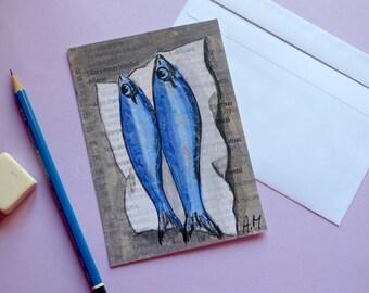 Postcard Fish Postcard print Fishes Art postcard print Reproduction print Lover fish