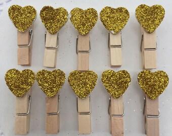 10-Handmade Gold Glitter Heart Clothespins Gold Heart Clothespins Gold Wedding Clothespins