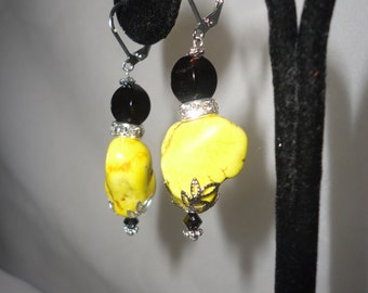 Magnificent Yellow Turquoise Onyx Earrrings*********>