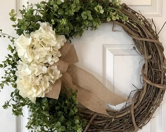 SPRING WREATH, Mothers Day Wreath, Summer Wreath,Grapevine Wreath, Wreath,Hydrangea  Wreath,Front Door Wreath,Boxwood Wreath