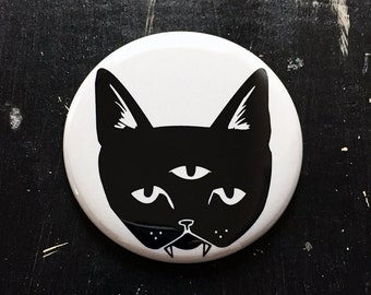 THREE EYED CAT - keychain bottle opener, magnet, or pinback button