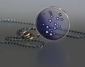 Gemini Constellation Necklace, Libra Plique a Jour Pendant, Gemini Star Necklace by Jackie Taylor Designs