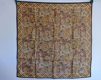 "Vintage Liberty silk paisley Scarf 58cm x 60cm / 22.8"" x 23.6"""
