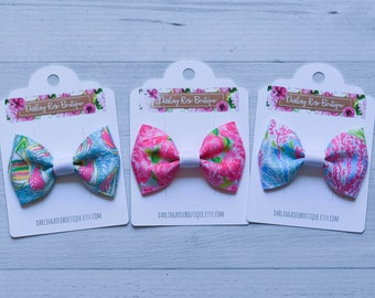 "SALE!  Set of 3 mini 2.5"" bows Lilly Pulitzer inspired  hair bow hairbow"