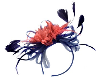 Navy and Coral Fascinator on Headband Alice Band UK Wedding Ascot Races Derby