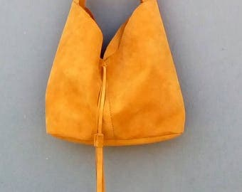 Suede boho bag in yellow