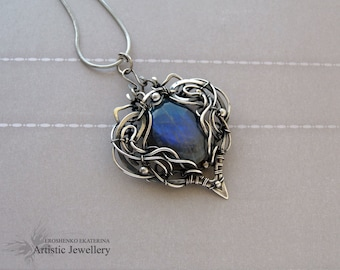 "silver pendant, wire wrap pendant with labradorite ""ISOLDA"""