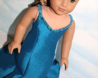 "18"" Doll (Like American Girl) Teal Mermaid Style Gown"