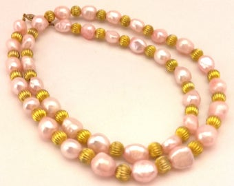 """Vintage Beaded Women Necklace Light Pink Freshwater Potatoes Pearls Long 22.00"""""""