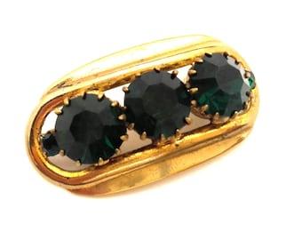 Wonderful Art Nouveau Rich Green Emerald Glass Stone Brooch Germany