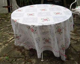 """White lace and embroidered Christmas tablecloth, red pointsettia tablecloth, large recatngle, vintage holiday tablecloth, 64 x 88"""""""