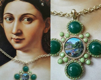 "Miniature Painting Necklace, Painted Miniature, Hand-Painted Necklace, ""Medici"""