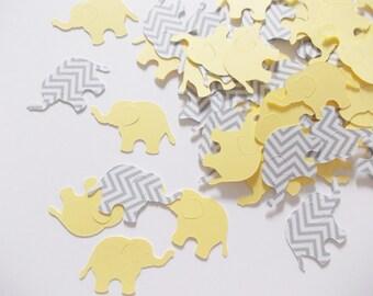 Elephant Confetti, Yellow & Gray Chevron Elephant Cutouts, Elephant Party Decoration, Baby Shower, 200 Ct.