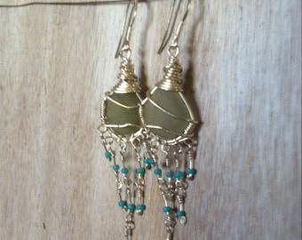 White Aqua Sea Glass Chandelier Earrings. 925 Sterling Silver. Turquoise Seed Bead, Sea Glass Earrings, Mermaids Earrings, Natural Sea Glass