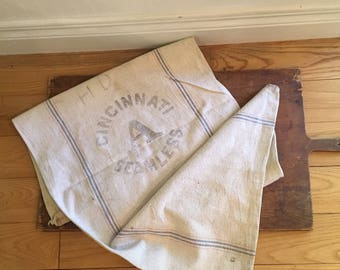 Vintage grain sack/Cincinnati seamlees grain sack/striped feed sack